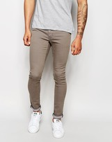 Asos Extreme Super Skinny Jeans In Brown