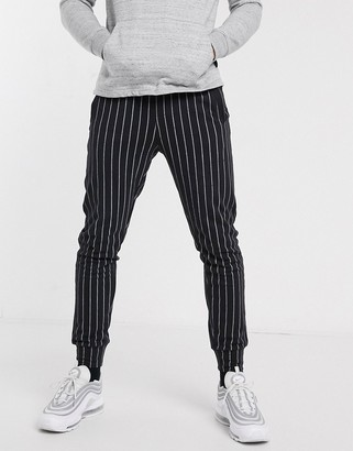 Another Influence tapered drawstring trousers in stripe-Black