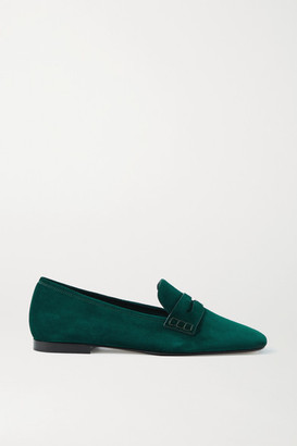 KHAITE Carlisle Suede Loafers - Emerald