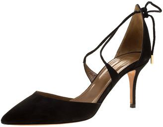 Aquazzura Black Suede Matilde Cross Straps Sandals Size 37