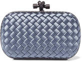Bottega Veneta The Knot Watersnake-trimmed Intrecciato Satin Clutch - Light blue