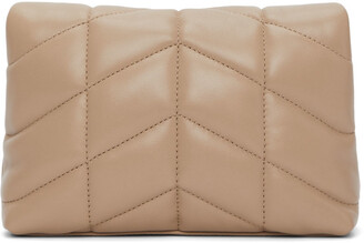 Saint Laurent Beige Quilted Small Puffer Pouch