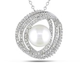 Ice.com 1/4 Carat Diamond & Cultured Pearl Sterling Silver Pendant w/Chain By Michiko