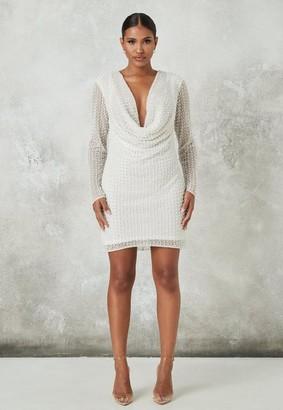Missguided White Pearl Drape Front Mini Dress