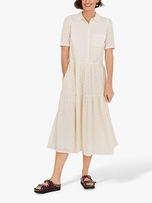 Hush Joan Star Textured Midi Shirt Dress, Egret