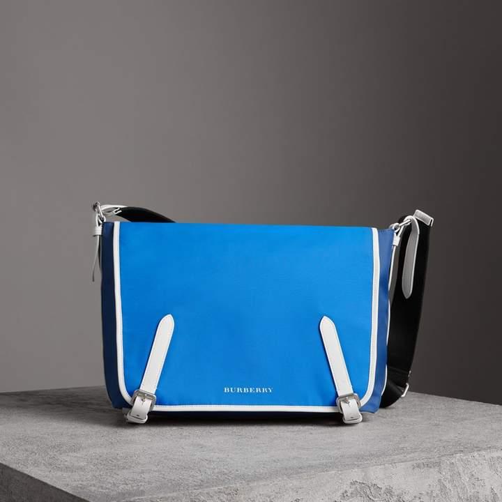 Burberry Large Tri-tone Nylon and Leather Messenger Bag