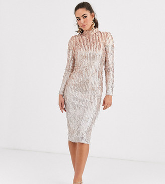 TFNC high neck sequin midi dress in rose gold