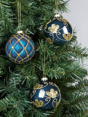 Blue Glitter Glass Christmas Tree Baubles (Set of 3)