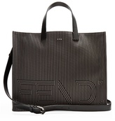 Fendi Leather-trimmed Striped Tote