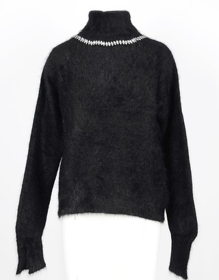 MARCO BOLOGNA Black Angora Wool Women's Turtleneck Sweater