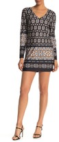 Papillon Border Print Long Sleeve Tunic Mini Dress