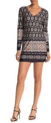 Papillon Border Print Long Sleeve Tunic Mini Dress