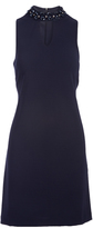 Sandra Darren Navy Embellished-Collar Keyhole Dress