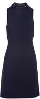 Sandra Darren Navy Embellished-Collar Keyhole Dress