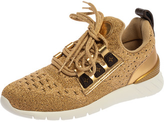 Louis Vuitton Gold Knit Fabric And Leather Aftergame Lace Trainer Sneakers Size 37