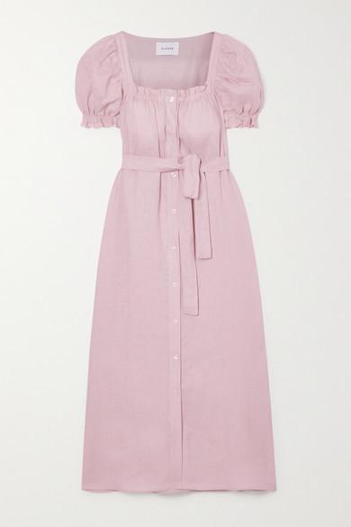 Sleeper Brigitte Belted Linen Midi Dress - Pink
