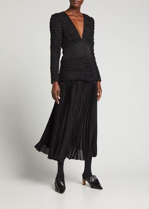 KHAITE Mary Pleated Long-Sleeve Midi Dress