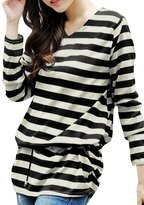 uxcell Women Stripes Shirred Sides Tunic Knit Top w Waist String