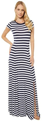 MICHAEL Michael Kors Stripe Slit Maxi Dress (True Navy/White) Women's Dress