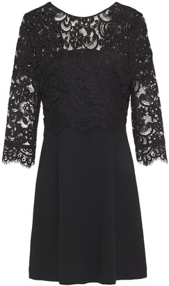 Claudie Pierlot Open-back Layered Corded Lace And Crepe Mini Dress