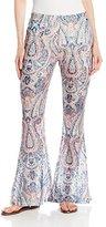 Buffalo David Bitton Women's Fara-Flare Paisley Printed Lace Knit Flare Pant