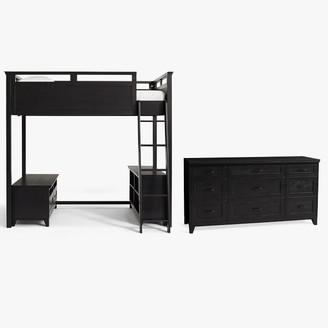 Pottery Barn Teen Hampton Loft Bed with Media & Bookcase Set & 9-Drawer Dresser Set