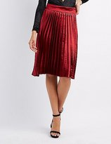 Charlotte Russe Satin Pleated Midi Skirt