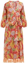 Rhode Resort Lena Floral-print Cotton Wrap Dress - Womens - Red Multi