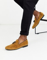 Moss Bros suede loafer with tassels in tan