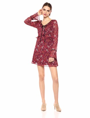 Cupcakes And Cashmere Women's Julee Laurel Ditsy Printed Crinkle Chiffon w/Velvet Details