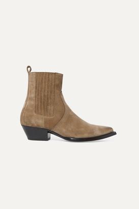 Saint Laurent Lukas Suede Ankle Boots - Beige