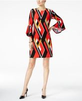 NY Collection Geo-Print Cold-Shoulder Dress