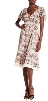 Max Studio Ruffle V-Neck Midi Dress
