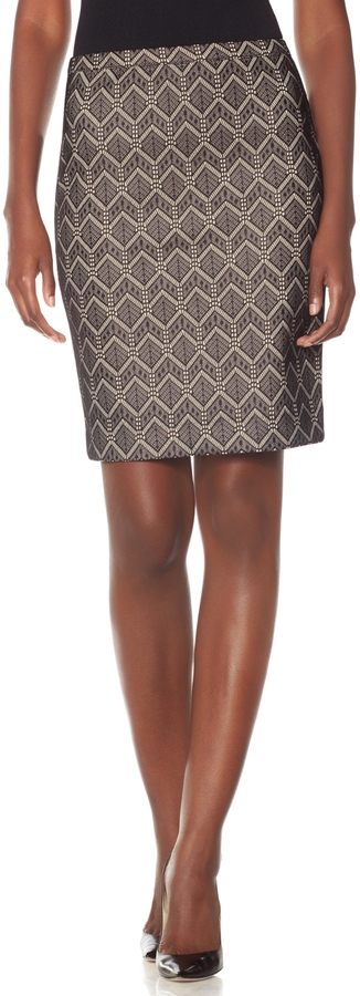 The Limited Patterned High Waist Pencil Skirt