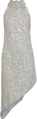 Anna Sui Asymmetric Sequin-embellished Chiffon Mini Dress