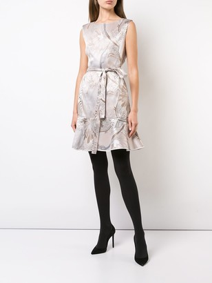 Josie Natori Jacquard Ruffle Hem Dress