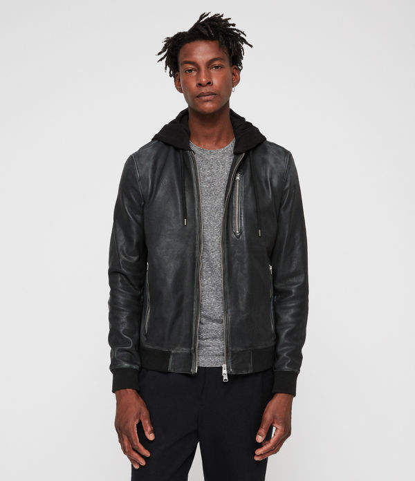 AllSaints Abbot Leather Bomber Jacket