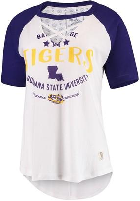 Women's Pressbox White/Purple LSU Tigers Abbie Criss-Cross Raglan Choker T-Shirt