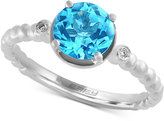 Effy Blue Topaz (1-5/8 ct. t.w.) and Diamond Accent Solitaire Ring in 14k White Gold
