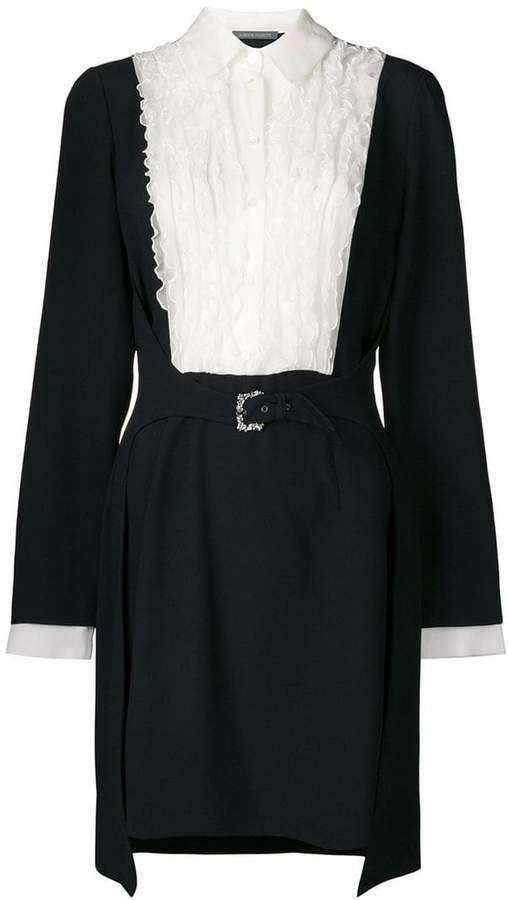 Alberta Ferretti ruffle placket colour block shirt dress