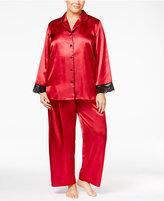 Thalia Sodi Plus Size Satin Contrast-Trimmed Pajama Set, Only at Macy's