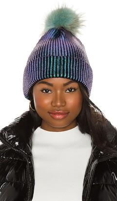 Adrienne Landau Metallic Pom Hat