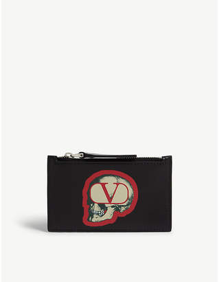 Valentino x Undercover skull logo leather card wallet