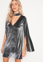 Missguided Grey Velvet Choker Neck Swing Dress