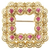 Tiffany & Co. 18K Yellow Gold Bright Red Ruby Cabochon Pin Square