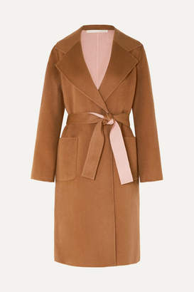 Veronica Beard Lyonia Belted Two-tone Wool And Cashmere-blend Coat - Tan