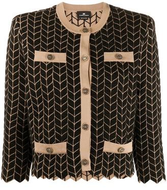 Elisabetta Franchi Collarless Cropped Chevron Jacket