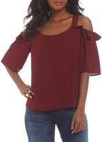 KUT from the Kloth Akane Solid Ruffle Cold-Shoulder Blouse