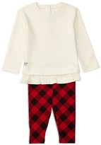 Ralph Lauren Infant Girls' Ruffled French Terry Top & Buffalo Check Leggings Set - Sizes 3-24 Months