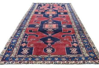 """Bloomsbury Market One-of-a-Kind Guillermo North West Persian with Large Elements Hand-Knotted Runner 4'6"""" x 10'1"""" Wool Red Area Rug Bloomsbury Market"""